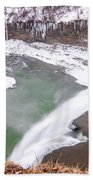 Middle Falls And Ice Feathers Beach Towel