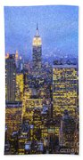 Midtown Manhattan And Empire State Building Beach Towel