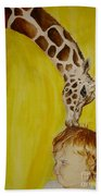 Mika And Giraffe Beach Towel