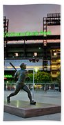 Mike Schmidt Statue At Dawn Beach Towel by Bill Cannon