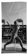 Mike Schmidt Statue In Black And White Beach Towel by Bill Cannon