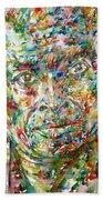 Miles Davis Watercolor Portrait.1 Beach Towel