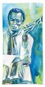 Miles Davis Watercolor Portrait.3 Beach Towel