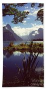 Milford Sound In New Zealand's Fiordland National Park Beach Towel