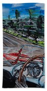 Mille Miglia On Board With Peter Collins Beach Towel