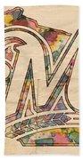 Milwaukee Brewers Poster Art Beach Towel