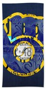 Milwaukee Brewers Vintage Baseball Team Logo Recycled Wisconsin License Plate Art Beach Sheet