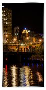 Milwaukee River And Downtown Skyline Beach Towel