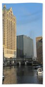 Milwaukee River Theater District 2 Beach Towel