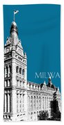 Milwaukee Skyline City Hall - Steel Beach Towel