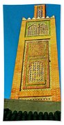 Minaret For Call To Prayer In Tangiers-morocco Beach Towel