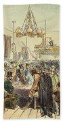 Miners In Saloon, 1852 Beach Towel