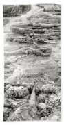 Minerva Springs In Black And White Yellowstone National Park Wyoming Beach Towel