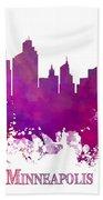 Minneapolis City Skyline Purple Beach Towel