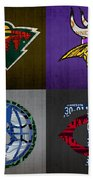 Minneapolis Sports Fan Recycled Vintage Minnesota License Plate Art Wild Vikings Timberwolves Twins Beach Towel