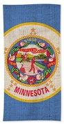 Minnesota State Flag Beach Towel by Pixel Chimp
