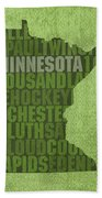 Minnesota Word Art State Map On Canvas Beach Towel