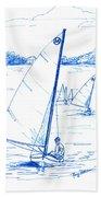 Mint Classic Moth In Blue  Beach Towel