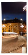 Miodowa Street In Warsaw At Night Beach Towel