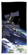 Mir Russian Space Station In Orbit Beach Towel by Leonello Calvetti
