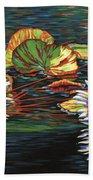 Mirrored Lilies Beach Towel