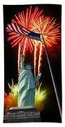 Miss Liberty And Fireworks Beach Towel