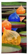 Missouri Botanical Garden Six Glass Spheres And Lilly Pads Img 5490 Beach Towel