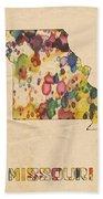 Missouri Map Vintage Watercolor Beach Towel