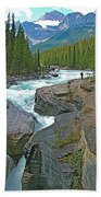 Mistaya Canyon Along Icefield Parkway In Alberta Beach Towel