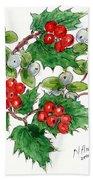 Mistletoe And Holly Wreath Beach Towel