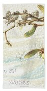 Mistletoe In The Snow Beach Towel by English School