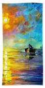 Misty Calm - Palette Knife Oil Painting On Canvas By Leonid Afremov Beach Towel