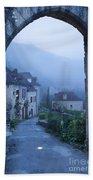 Misty Dawn In Saint Cirq Lapopie Beach Towel by Brian Jannsen