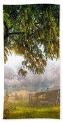 Misty Mountain Barn Beach Towel