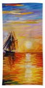 Misty Ship - Palette Knife Oil Painting On Canvas By Leonid Afremov Beach Towel