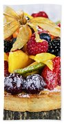 Mixed Tropical Fruit Tart Beach Towel