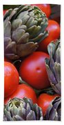 Articholes And Tomatoes Beach Towel