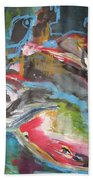 Mobie Joe The Whale-original Abstract Whale Painting Acrylic Blue Red Green Beach Towel