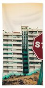 Mobile Photography Toned Stop Sign And Condo Units Beach Towel