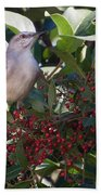 Mocking Bird And Berries Beach Towel