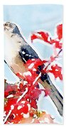 Mockingbird In The Leaves - Watercolor Beach Towel