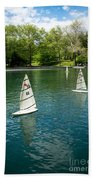 Model Boats On Conservatory Water Central Park Beach Towel