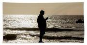 Modern Man Looking At Smart Phone Beach Towel
