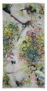 Modern Spring Blossom Art Painting Flower Butterfly Art Acrylic Ink Rice Paper Green Yellow Pink Sjk Beach Sheet