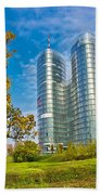 Modern Twin Tower In City Of Zagreb Beach Towel