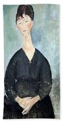 Modigliani's Cafe Singer Beach Towel