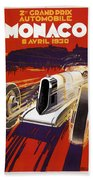 Monaco Grand Prix 1930 Beach Towel