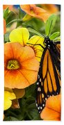 Monarch Among The Flowers Beach Towel