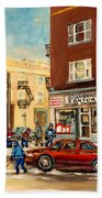 Monkland Street Hockey Game Montreal Urban Scene Beach Towel by Carole Spandau