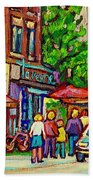 Monkland Tavern Corner Old Orchard Montreal Street Scene Painting Beach Towel